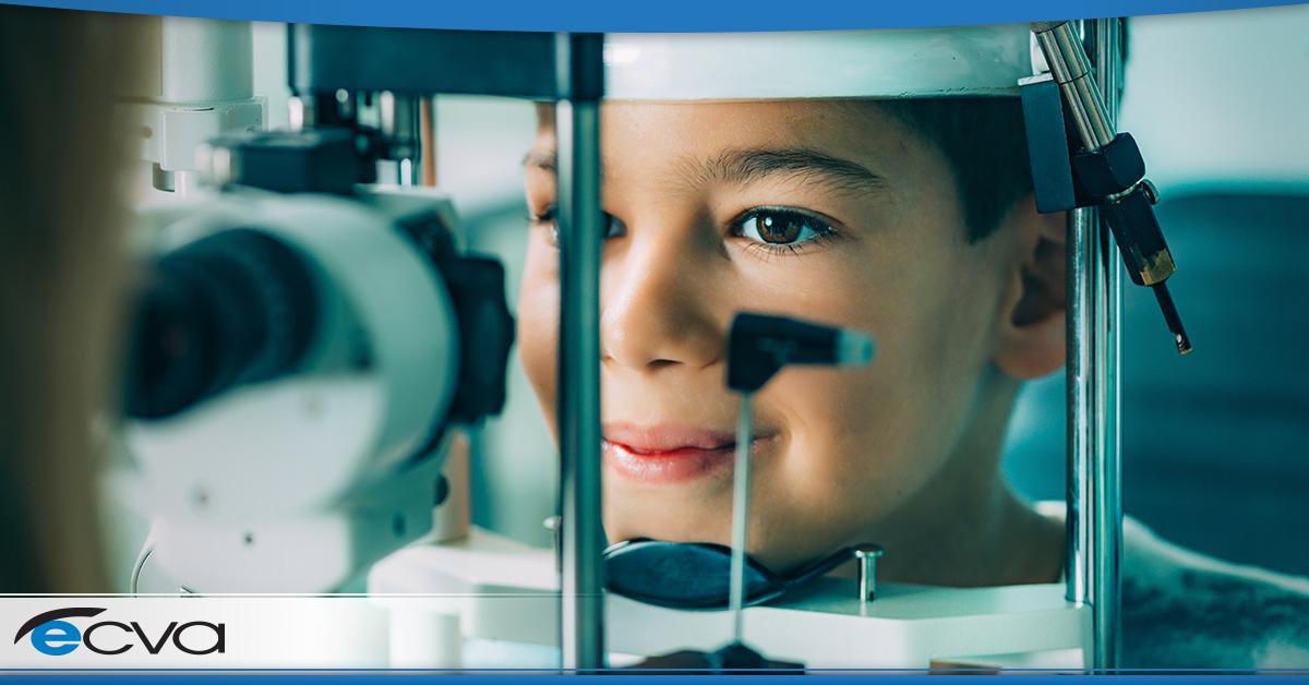 a male child getting an eye exam