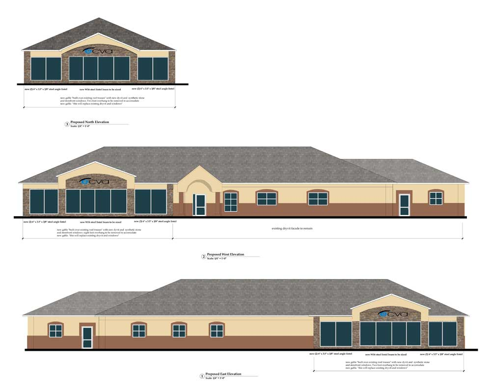 Elevations of the new Williamsville office of Eye Care and Vision Associates, New York